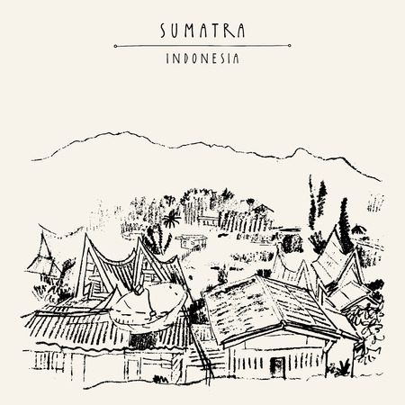 sumatra: Rural landscape with mountains on lake Toba, Sumatra, Indonesia, Asia. Unique traditional Batak tribal architechture. Travel sketch. Hand-drawn vintage book illustration, greeting card in vector Illustration