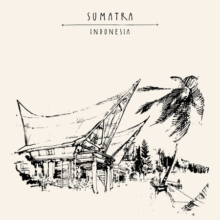Houses and palm tree on lake Toba, Sumatra, Indonesia, Asia. Traditional Batak tribal architechture. Travel sketch. Hand-drawn vintage book illustration, greeting card, postcard, poster iin vector