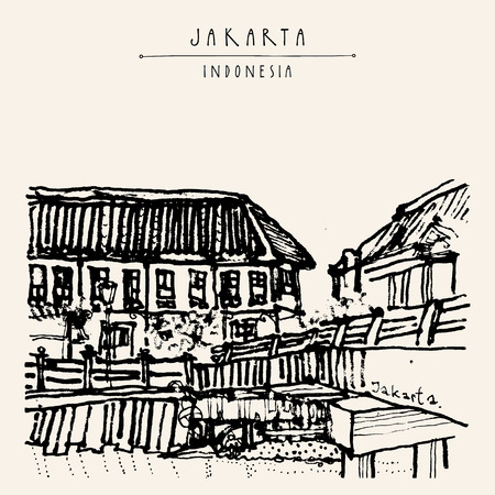 colonial house: Bridge in Kota, Jakarta, Indonesia, Asia. Old time buildings, Dutch colonial architecture. Travel sketch. Hand-drawn vintage book illustration, greeting card, postcard or poster template in vector Illustration