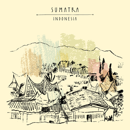 Rural landscape with mountains on lake Toba, Sumatra, Indonesia, Asia. Unique traditional Batak tribal architechture. Travel sketch. Hand-drawn vintage book illustration, greeting card in vector Vetores
