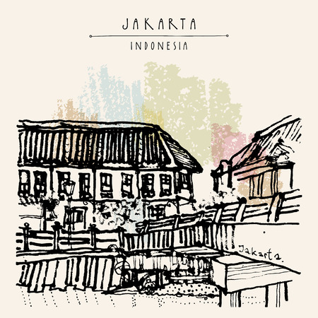 Bridge in Kota, Jakarta, Indonesia, Asia. Old time buildings, Dutch colonial architecture. Travel sketch. Hand-drawn vintage book illustration, greeting card, postcard or poster template in vector Illustration