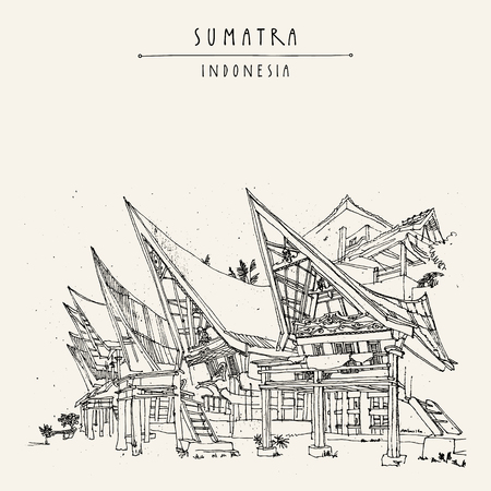 Houses on lake Toba, Sumatra, Indonesia, Asia. Unique traditional Batak tribal architechture. Travel sketch. Hand-drawn vintage book illustration, greeting card, postcard or poster template in vector Illusztráció