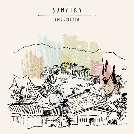 Rural landscape with mountains on lake Toba, Sumatra, Indonesia, Asia. Unique traditional Batak tribal architechture. Travel sketch. Hand-drawn vintage book illustration, greeting card in vector