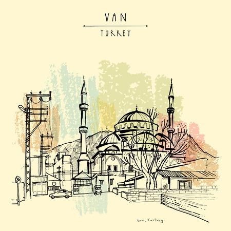 lake district: Mosque in Van, Eastern Turkey. Turkish Kurdistan. Hand drawing. Travel sketch. Vintage touristic postcard or poster, book illustration in vector