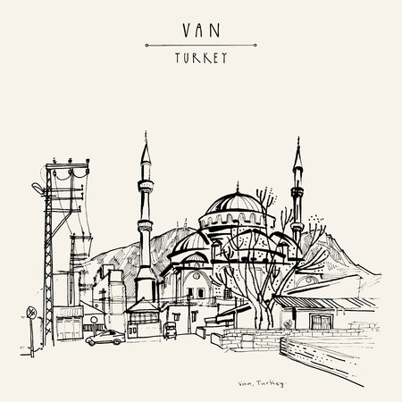 lake district: Mosque in Van, Eastern Turkey. Turkish Kurdistan. Hand drawing. Travel sketch. Vintage touristic postcard or poster, book illustration in vector