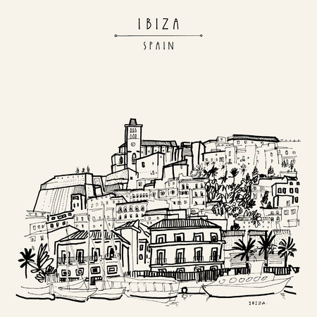 ibiza: Old city of Ibiza Town, Balearic islands, Spain, Europe. Ibiza castle. Historical buildings.Travel sketch. Hand-drawn vintage book illustration, greeting card, postcard. poster in vector Illustration