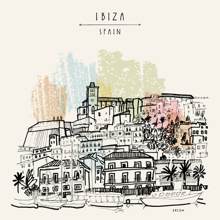 Old city of Ibiza Town, Balearic islands, Spain, Europe. Ibiza castle. Historical buildings.Travel sketch. Hand-drawn vintage book illustration, greeting card, postcard. poster in vector Иллюстрация