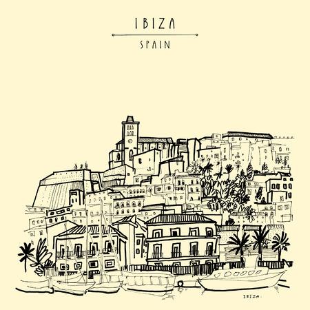 Altstadt von Ibiza-Stadt, Balearen, Spanien, Europa. Schloss von Ibiza. Historische buildings.Travel Skizze. Von Hand gezeichnet Jahrgang Buchillustration, Grußkarte, Postkarte. Plakat in Vektor Standard-Bild - 71674597