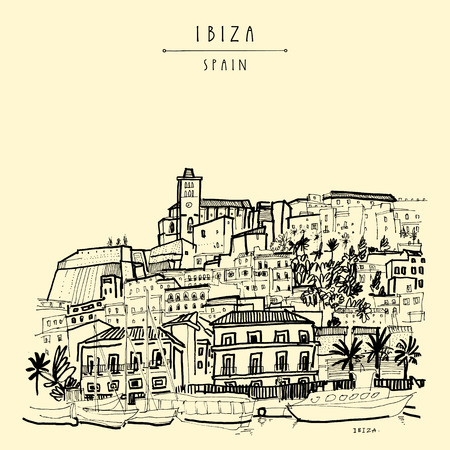 Old city of Ibiza Town, Balearic islands, Spain, Europe. Ibiza castle. Historical buildings.Travel sketch. Hand-drawn vintage book illustration, greeting card, postcard. poster in vector Ilustração
