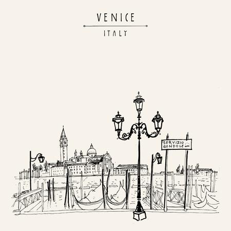 Gondola molo w Wenecji, we Włoszech. Stacja obsługi łodzi i wyspa Lido. Rysunek ręczny. Vintage artystycznej książki ilustracji. Szkic podróżniczy. Retro styl turystyczny pocztówka, plakat, kartkę z życzeniami w wektorze Ilustracje wektorowe