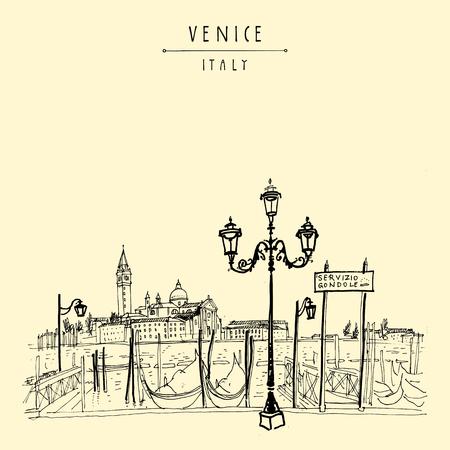 Gondola molo w Wenecji, we Włoszech. Stacja obsługi łodzi i wyspa Lido. Rysunek ręczny. Vintage artystycznej książki ilustracji. Szkic podróżniczy. Retro styl turystyczny pocztówka, plakat, kartkę z życzeniami w wektorze