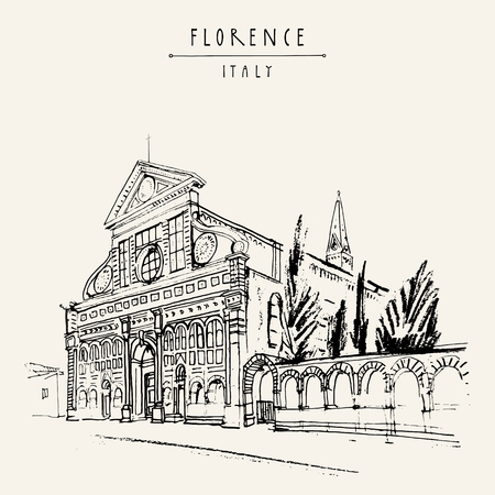 Santa Maria Novella church in Florence, Italy, Europe. Vintage travel sketch. Retro style touristic postcard, poster template or book illustration in vector