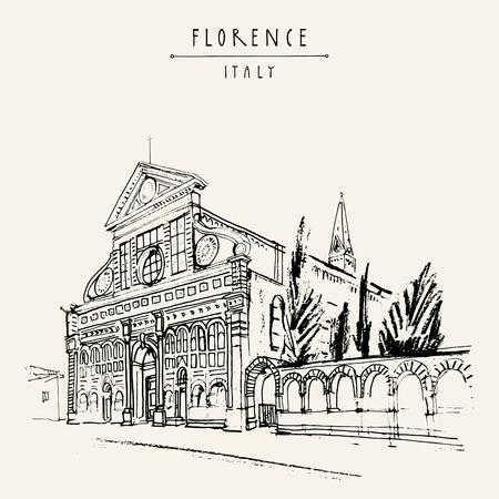 Santa Maria Novella kerk in Florence, Italië, Europa. Vintage reis schets. Retro-stijl toeristische postkaart, poster sjabloon of boek illustratie in vector