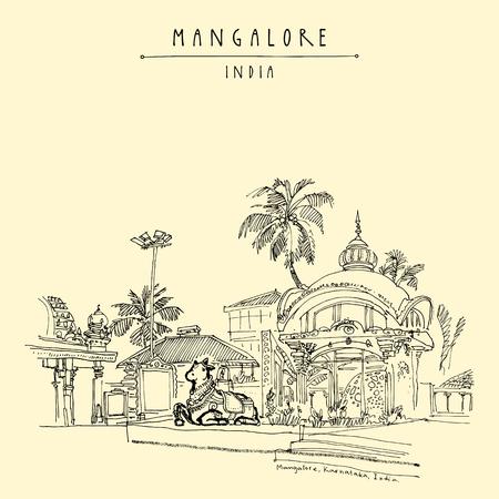 building site: Mangalore, Karnataka, India. Holy cow statue in Kudroli Hindu temple (Gokarnanath). Travel sketch.