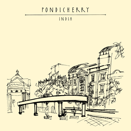Pondicherry (Puducherry), India. Artistic drawing on paper. Travel sketch.