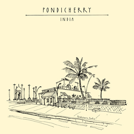 Pondicherry (Puducherry), India. Quay, beach promenade, palm trees, old French cafe, Gandhi statue. Travel sketch.
