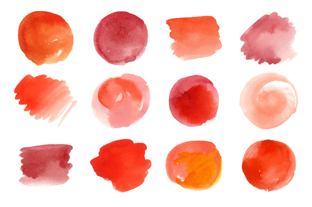 Vector set of hand painted red watercolor spots. Can be used as love, passion, fire, spice, fruits and veggies artistic abstract backgrounds Illustration