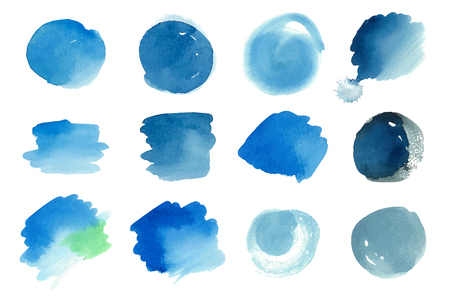 Vector set of hand painted blue watercolor spots. Can be used as water and air artistic abstract backgrounds Illustration