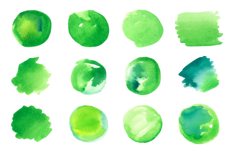 Vector set of green abstract isolated colorful  watercolor stains on paper. Grunge design elements. Can be used as healthy lifestyle, bio organic food design backdrops, handmade products