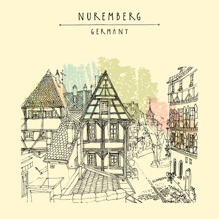 belfry: Nuremberg, Germany, Europe. Romantic old town view with historic traditional German timbered houses. Book illustration. Artistic hand drawn touristic postcard, poster in vector