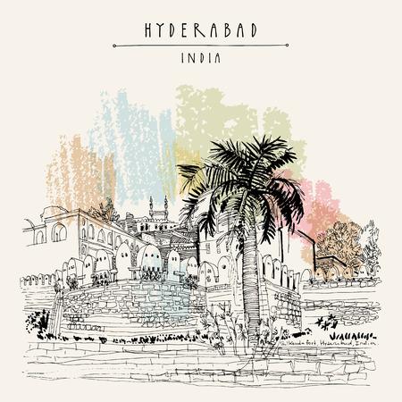 Hyderabad, Telangana state, India. Golkonda fort - famous historical sight. Travel sketch. Vintage hand drawn postcard template. Vector