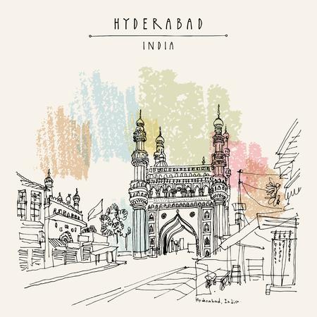 Hyderabad, Telangana Staat, Indien. Charminar - berühmte historische Moschee. Reise-Skizze Vintage Hand gezeichnete Postkarte Vorlage. Vektor Standard-Bild - 78498361