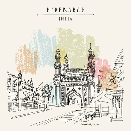 Hyderabad, Telangana state, India. Charminar - famous historical mosque. Travel sketch. Vintage hand drawn postcard template. Vector Illustration