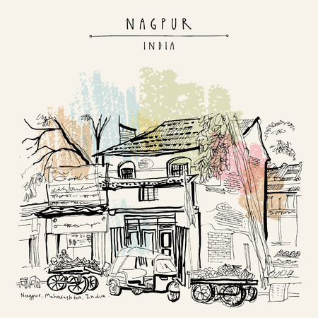 Nagpur, Maharashtra, India. Street in Muslim quarter. Tuk tuk (auto rickshaw), food market, old houses, trees. Travel sketch. Vintage hand drawn postcard or poster template. Vector