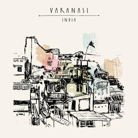 benares: Varanasi, Uttar Pradesh, India. Hand drawn architectural cityscape. Vintage artistic postcard template. Vector illustration