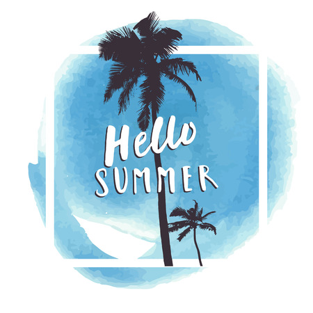 majorca: Hello Summer. Blue watercolor hand drawn greeting card with palm tree silhouettes. Summer party poster template, tropical beach vacation promotion design in vector