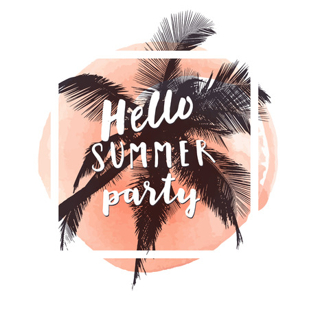 Hello Summer Party. Watercolor hand drawn greeting card in muted orange color. Summer poster template, tropical beach vacation promotion design in vector Illustration