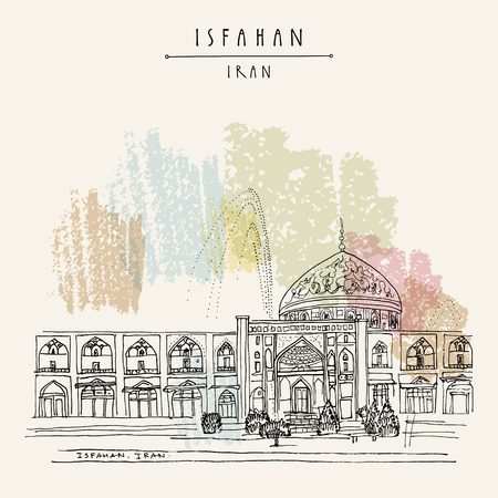 safavid: Isfahan, Iran. Sheikh Lotfollah Mosque in Naghsh-i Jahan Square. Built during the Safavid Empire in 17th century. Tourist attraction. Travel hand drawn postcard in vector Illustration
