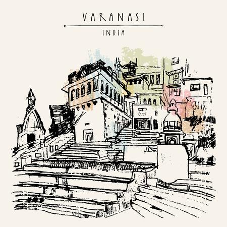 Ghat in Varanasi, Uttar Pradesh, India. Hand drawn architectural cityscape. Vintage artistic postcard template. Vector illustration