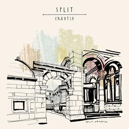 former yugoslavia: Split, Croatia, former Yugoslavia, Europe. Palace of Diocletian, a UNESCO World Heritage Site. Travel vintage hand drawn postcard in vector