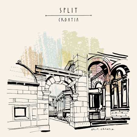 Split, Croatia, former Yugoslavia, Europe. Palace of Diocletian, a UNESCO World Heritage Site. Travel vintage hand drawn postcard in vector