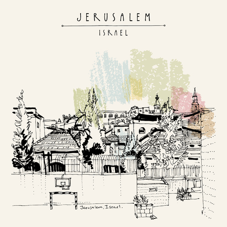Jerusalem roofs and churches. View of Jewish, Muslim and Christian quarters in Jerusalem, Israel. Skyline. Basketball, football nets on a sports ground. Travel vintage hand drawn postcard in vector