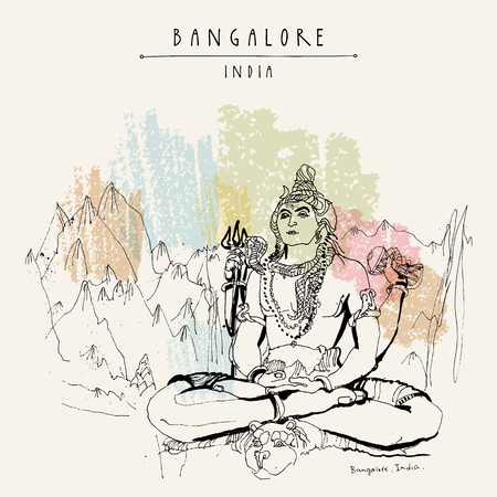 Bangalore (Bengaluru), Karnataka, India. Shiva statue at Shiva temple. Travel sketch. Vintage hand drawn postcard template. Vector Ilustração