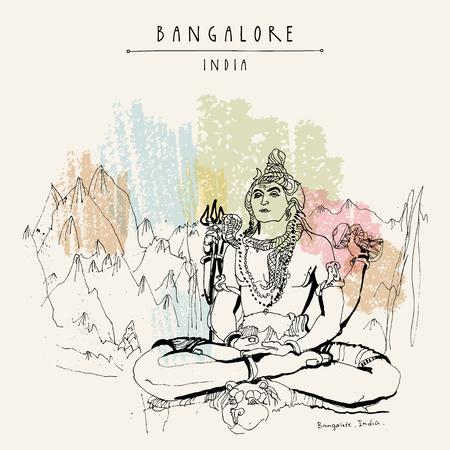 Bangalore (Bengaluru), Karnataka, India. Shiva-standbeeld bij Shiva-tempel. Reizen schets. Vintage hand getrokken briefkaartsjabloon. Vector