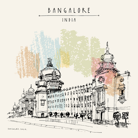Bangalore (Bengaluru), Karnataka, India. Building in Neo-Dravidian style. Travel sketch. Vintage hand drawn postcard template. Vector Vettoriali
