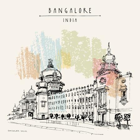 Bangalore (Bengaluru), Karnataka, Indien. Gebäude im neo-dravidischen Stil. Reise-Skizze Vintage Hand gezeichnete Postkarte Vorlage. Vektor