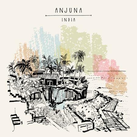 Anjuna beach, Goa, India. Legendary hippie destination. Palm trees. Artistic drawing of tropical summer. Travel sketch. Vintage hand drawn postcard. Vector