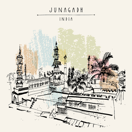 Mosque in Junagadh, Gujarat, India. Hand drawn cityscape sketch. Travel art. Vintage artistic postcard template. Vector illustration Illustration