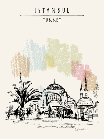 hagia sophia: Istanbul, Turkey. Famous Hagia Sophia mosque. Hand-drawn tourist attraction. Travel sketch. Vintage touristic postcard or poster, book illustration in vector