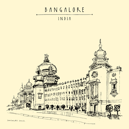 Bangalore (Bengaluru), Karnataka, India. Building in Neo-Dravidian style. Travel sketch. Vintage hand drawn postcard template. Vector Çizim