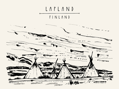 Lapland, Finland. Natural tundra landscape with traditional lavvu tents in wilderness. Temporary dwellings used by the Sami people of Scandinavia similar to American tipi. Hand drawn postcard. Vector Ilustração