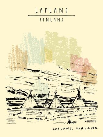 ラップランド、フィンランド。荒野でテントが伝統的な lavvu 自然なツンドラの風景です。スカンジナビア アメリカ ティピのようの Sami の人々 によ