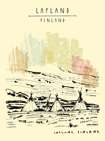 Lapland, Finland. Natural tundra landscape with traditional lavvu tents in wilderness. Temporary dwellings used by the Sami people of Scandinavia similar to American tipi. Hand drawn postcard. Vector Иллюстрация