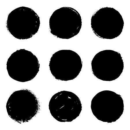 Set of 9 black grungy ink brush hand drawn circles, blots, stains. Isolated design elements on white background. Vector illustration