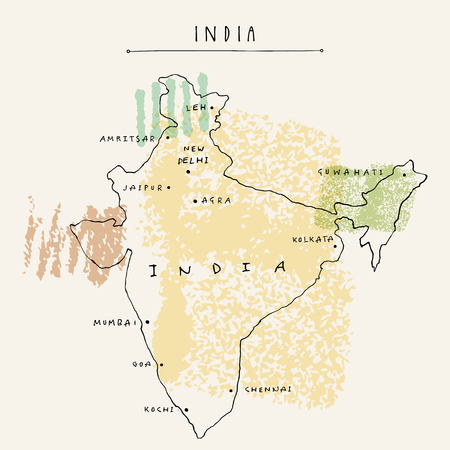 Map of India. Vintage hand drawn artistic postcard or poster in vector