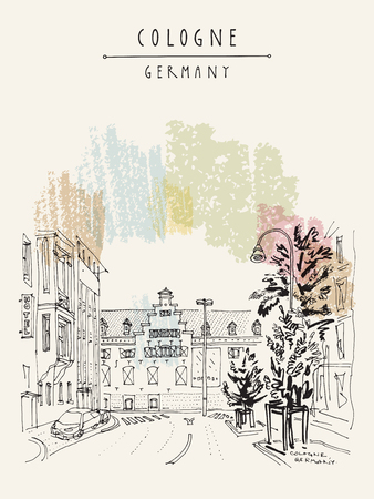 Old town in Germany icon. Illustration